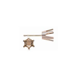 6 Prong Flat Back Stud Earring