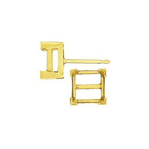 Double Gallery V-End Square Earring