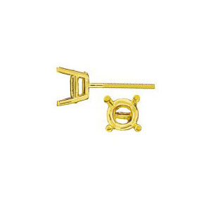 Standard 4 Prong Double Gallery Earring with Threaded Post