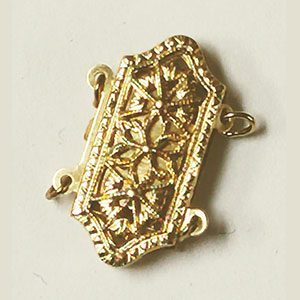 Hexagon Shaped Filigree Pearl Clasp for 2 Strands