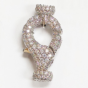 Jumbo Lobster Clasp with White CZ Stones