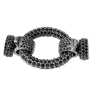 Jumbo Oval Clasp with Black CZ Stones & Cups