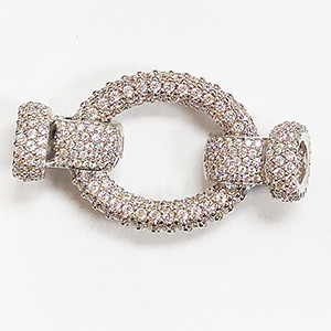 Jumbo Oval Clasp with White CZ Stones & Cups