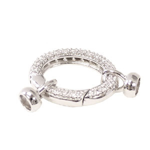 Jumbo Oval Spring Ring with Cups White CZ