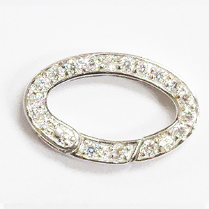Jumbo Oval Spring Ring with White CZ Stones
