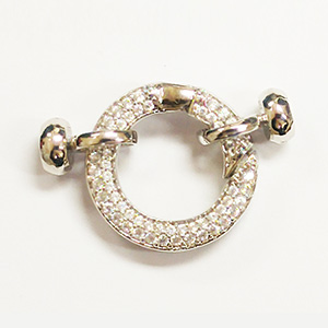 Jumbo Round Spring Ring with Cups White CZ
