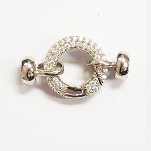 Round Spring Ring with Cups White CZ