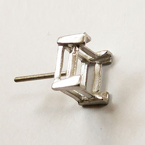 Double Gallery V-End Square Earring with Threaded Post